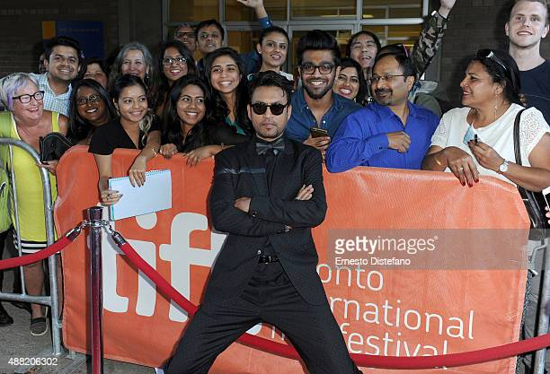 Actor Irrfan Khan poses with fans atthe 'Guilty' photo call during the 2015 Toronto International Film Festival at Ryerson Theatre on September 14...