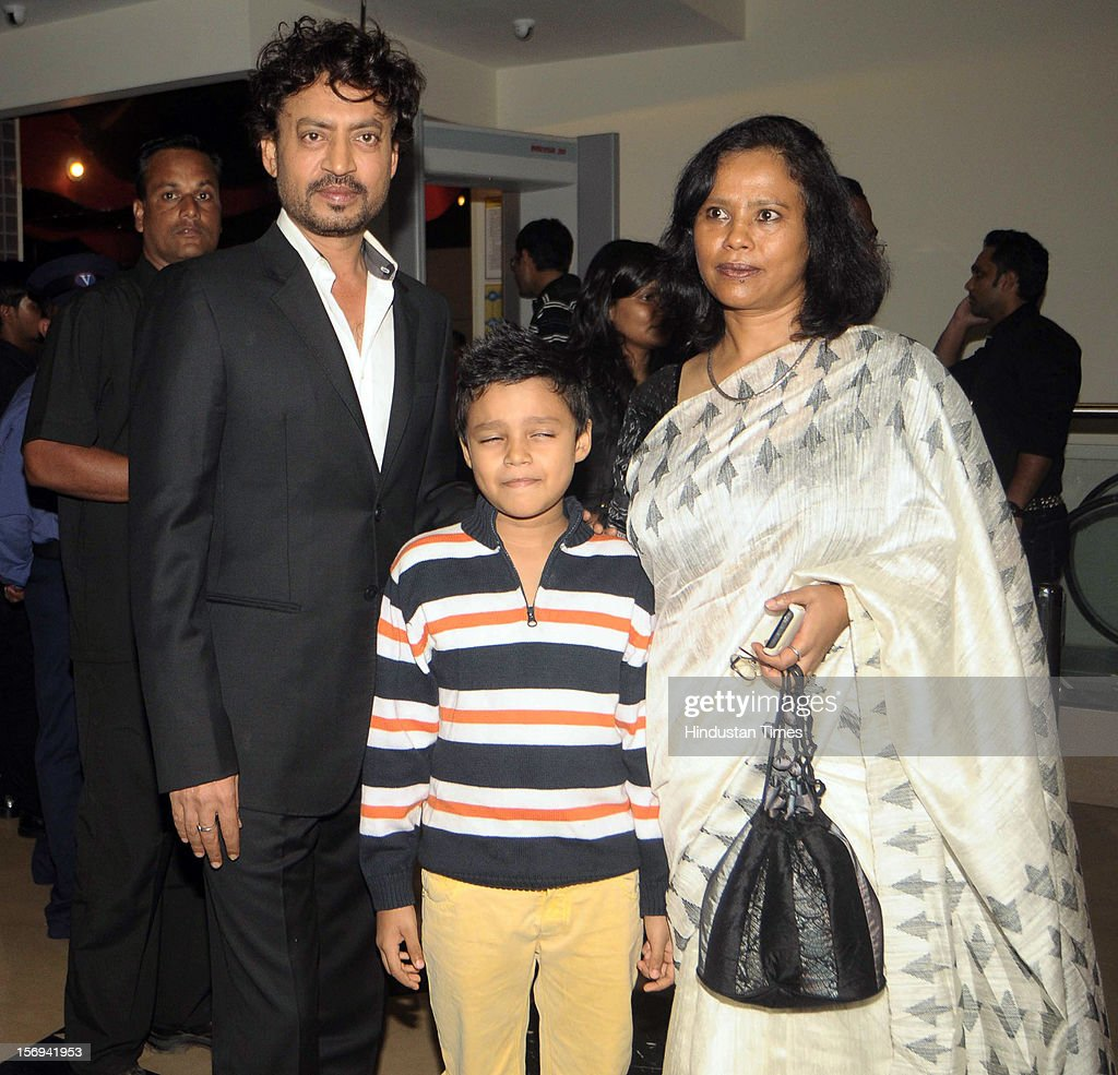 Actor Irrfan Khan with wife Sutapa Sikdar and son Ayan during the special screening of 'Life of PI' movie at PVR Juhu on November 21, 2012, in Mumbai, India. The film opens on November 13, 2012.