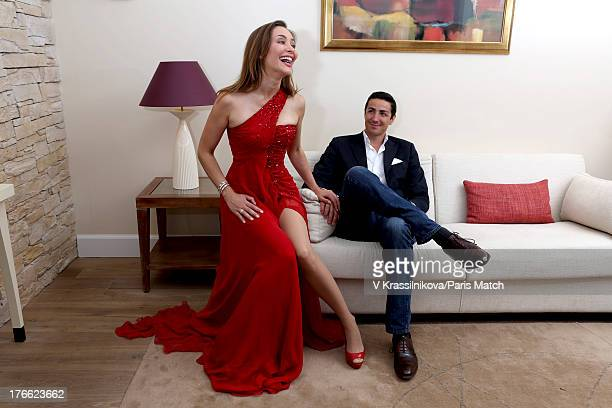 Actor Isabella Orsini is photographed with her husband the Prince Edouard de Ligne for Paris Match on May 19 2013 in Mougins France
