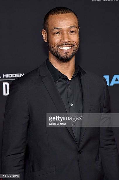 Actor Isaiah Mustafa attends the premiere of Netflix's 'Crouching Tiger Hidden Dragon Sword Of Destiny' at AMC Universal City Walk on February 22...