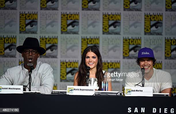 Actor Isaiah Washington actress Marie Avgeropoulos and actor Bob Morley attend a special video presentation and panel for 'The 100' during ComicCon...