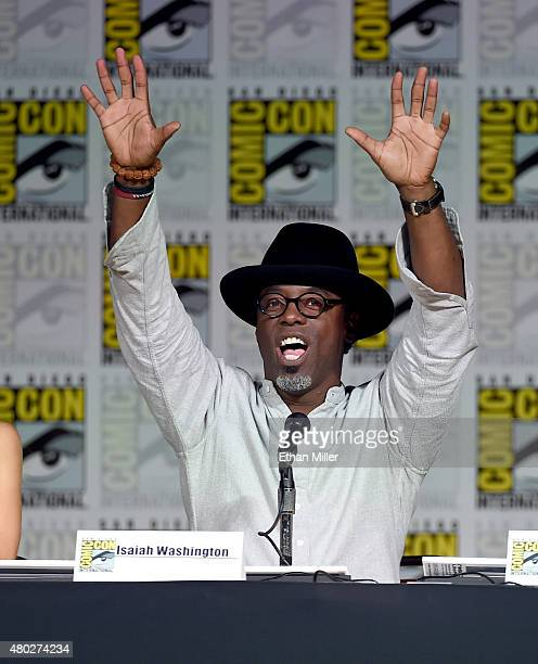 Actor Isaiah Washington attends a special video presentation and panel for 'The 100' during ComicCon International 2015 at the San Diego Convention...
