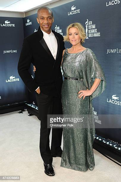Actor J August Richards and actress Kathleen Robertson attend the 16th Costume Designers Guild Awards with presenting sponsor Lacoste at The Beverly...