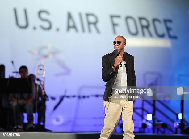 Actor J B Smoove speaks onstage during 'Spike's Rock the Troops' event held at Joint Base Pearl Harbor Hickam on October 22 2016 in Honolulu Hawaii...