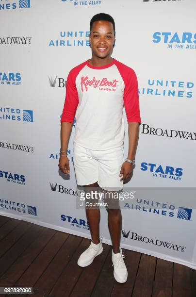 Actor J Harrison Ghee poses for a photo at the 2017 Stars In The Alley at Shubert Alley on June 2 2017 in New York City