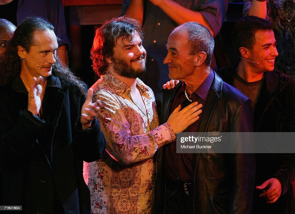 Actor Jack Black (C) and actor Barry Dennen (R) appear on stage for the curtain call at a special performance of 'Jesus Christ Superstar' benefiting the YouTHeatre-America! at the Ricardo Montalban Theatre on August 13, 2006 in Los Angeles, California.
