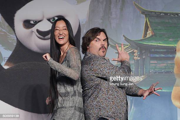 Actor Jack Black and director Jennifer Yuh attend the press conference for 'Kung Fu Panda 3' on January 20 2016 in Seoul South Korea Jack Black and...