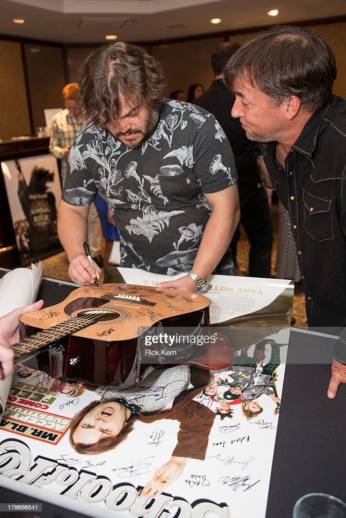 Actor Black (L) and director <a gi-track='captionPersonalityLinkClicked' href=/galleries/search?phrase=Richard+Linklater&family=editorial&specificpeople=242770 ng-click='$event.stopPropagation()'>Richard Linklater</a> attend the School Of Rock 10-Year cast reception at Omni Downtown on August 29, 2013 in Austin, Texas.
