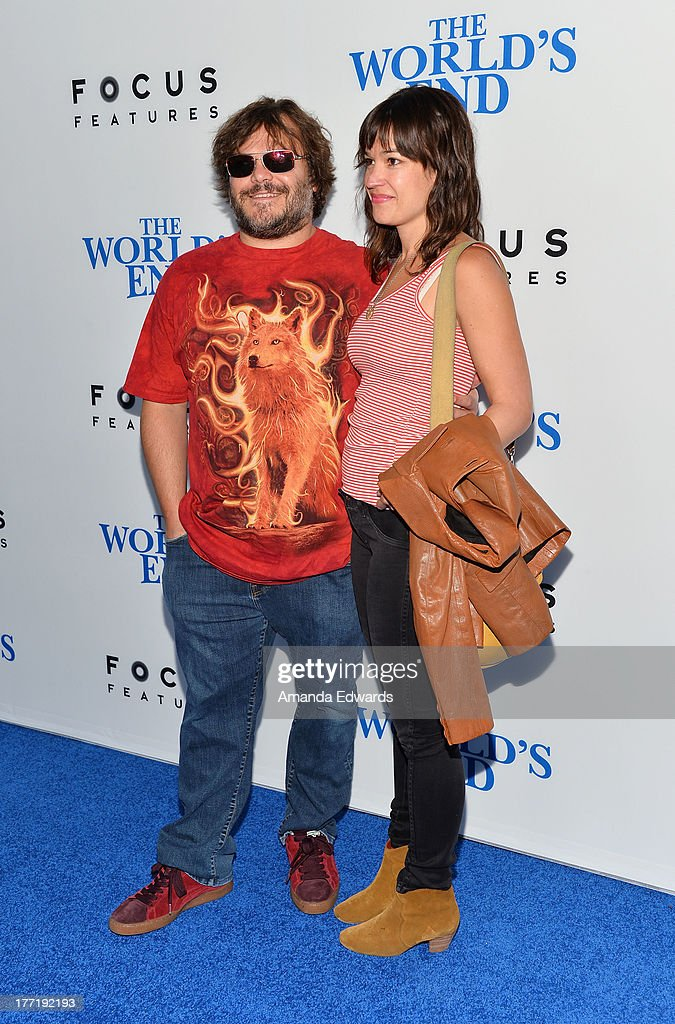 Actor Jack Black (R) and his wife Tanya Haden arrive at the Los Angeles premiere of 'The World's End' at ArcLight Cinemas Cinerama Dome on August 21, 2013 in Hollywood, California.