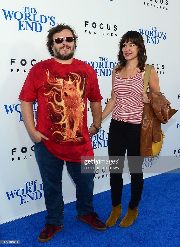 Actor Jack Black and his wife Tanya Haden pose arrival for the L.A. Premiere of the film 'The World's End' in Hollywood, California, on August 21 2013. AFP PHOTO/Frederic J. BROWN