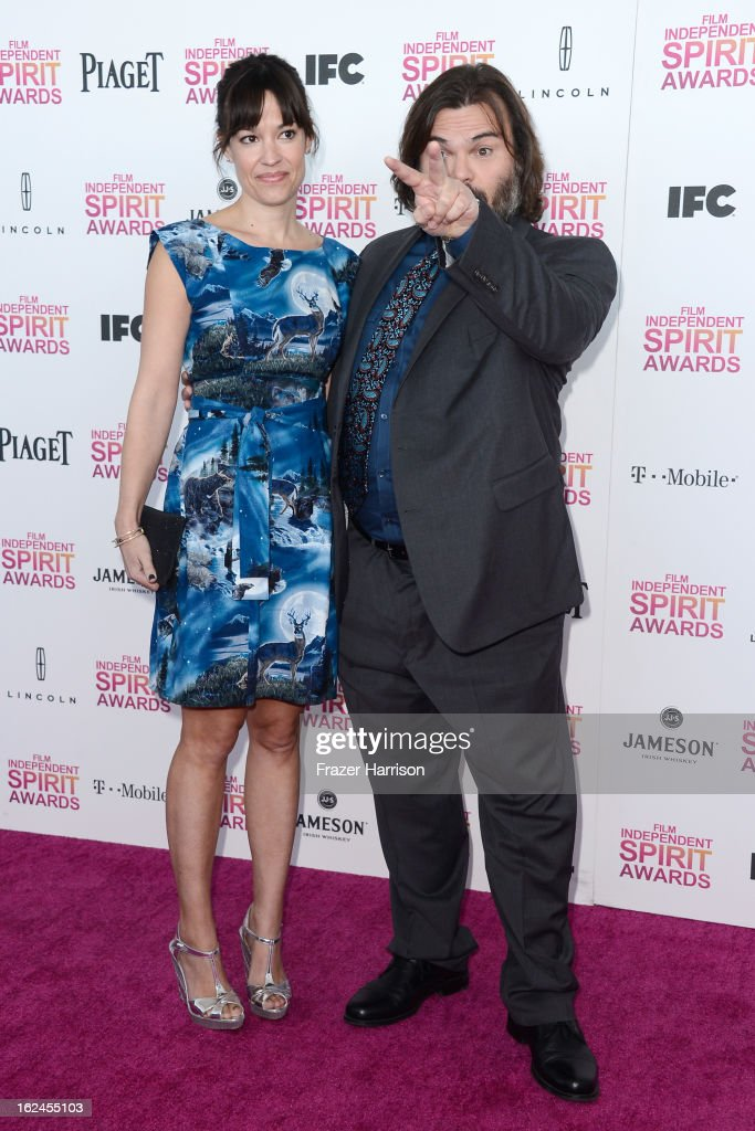 Actor Jack Black (R) and musician Tanya Haden attend the 2013 Film Independent Spirit Awards at Santa Monica Beach on February 23, 2013 in Santa Monica, California.