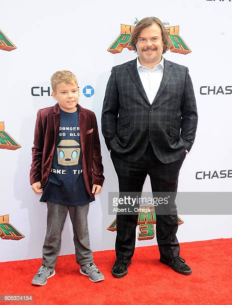 Actor Jack Black and son arrive for the Premiere Of DreamWorks Animation And Twentieth Century Fox's 'Kung Fu Panda 3' held at TCL Chinese Theatre on...