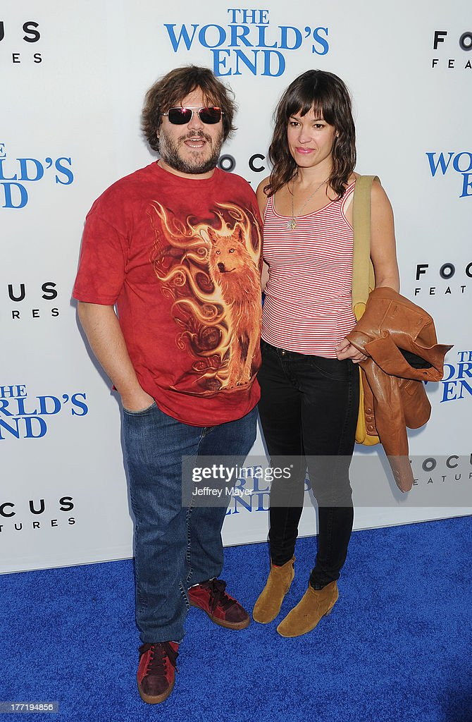 Actor Jack Black (L) and Tanya Haden arrive at the Los Angeles premiere of 'The World's End' at ArcLight Cinemas Cinerama Dome on August 21, 2013 in Hollywood, California.