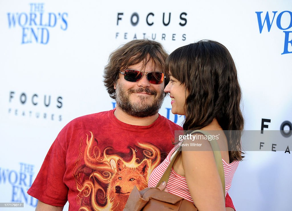 Actor <a gi-track='captionPersonalityLinkClicked' href=/galleries/search?phrase=Jack+Black&family=editorial&specificpeople=171453 ng-click='$event.stopPropagation()'>Jack Black</a> (L) and <a gi-track='captionPersonalityLinkClicked' href=/galleries/search?phrase=Tanya+Haden&family=editorial&specificpeople=2127129 ng-click='$event.stopPropagation()'>Tanya Haden</a> arrive at the premiere of Focus Features' 'The World's End' at ArcLight Cinemas Cinerama Dome on August 21, 2013 in Hollywood, California.