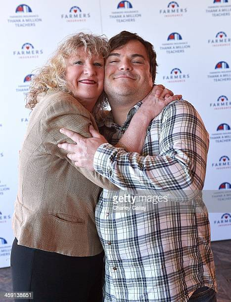 Actor Jack Black and teacher Debbie Devine celebrate the launch of Farmers Insurance's 'Thank A Million Teachers' program at Soho House on December...