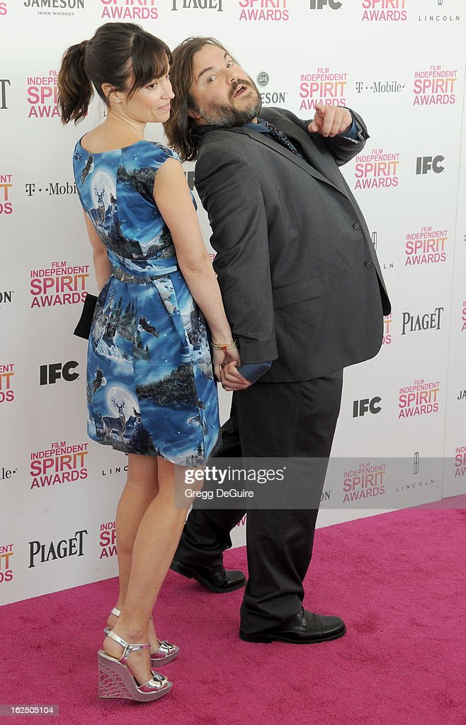 Actor Jack Black (R) and wife Tanya Haden arrive at the 2013 Film Independent Spirit Awards at Santa Monica Beach on February 23, 2013 in Santa Monica, California.