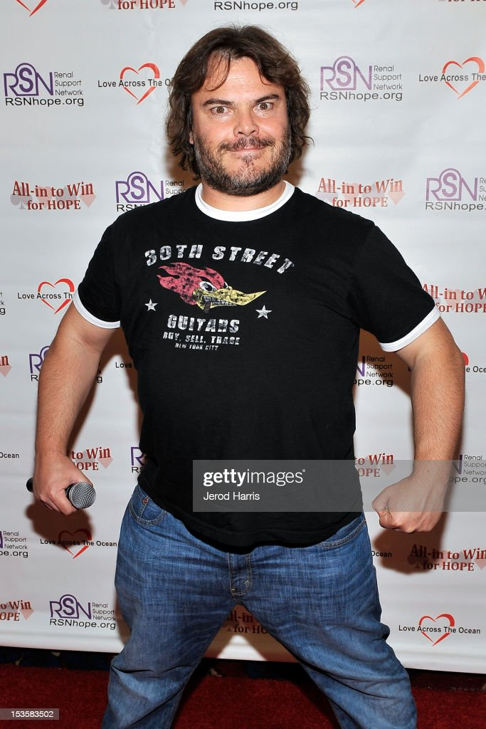 Actor <a gi-track='captionPersonalityLinkClicked' href=/galleries/search?phrase=Jack+Black&family=editorial&specificpeople=171453 ng-click='$event.stopPropagation()'>Jack Black</a> arrives at 'In To Win For Hope' No Limit Texas Hold'em Celebrity Charity Poker Tournament at Commerce Casino on October 6, 2012 in City of Commerce, California.