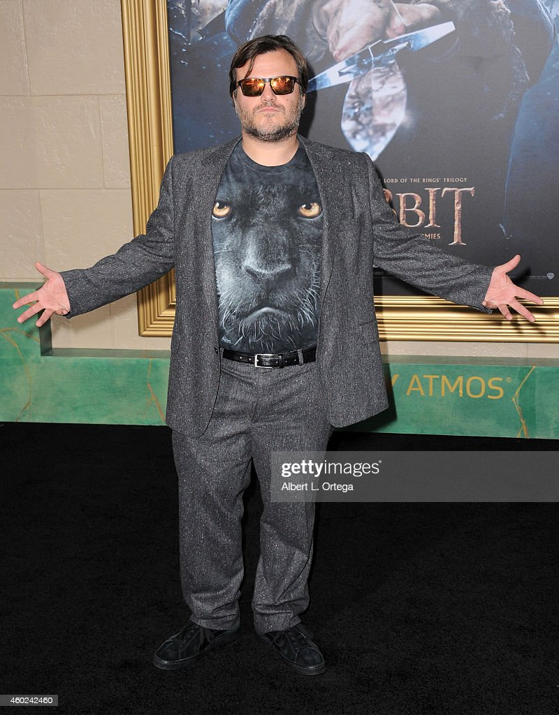 Actor Jack Black arrives for Premiere Of New Line Cinema MGM Pictures And Warner Bros Pictures' 'The Hobbit The Battle Of The Five Armies' held at...