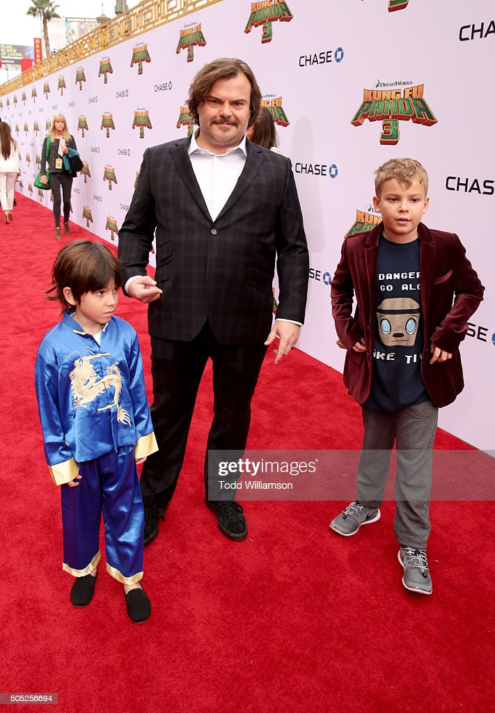 Actor Jack Black (C) attends the premiere of DreamWorks Animation and Twentieth Century Fox's 'Kung Fu Panda 3' at the TCL Chinese Theatre on January 16, 2016 in Hollywood, California.