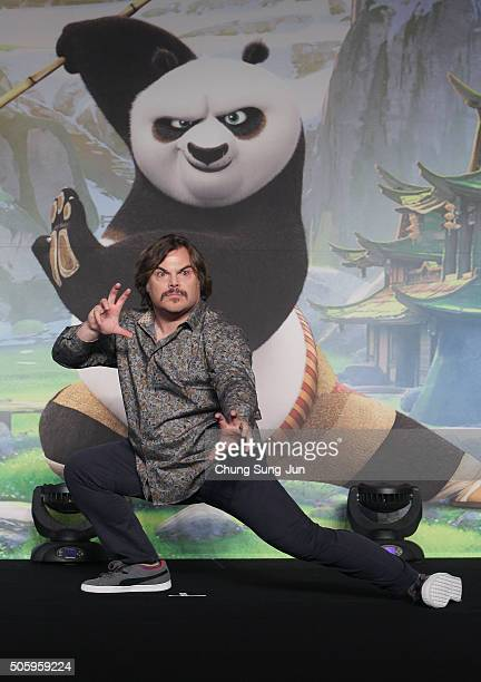 Actor Jack Black attends the press conference for 'Kung Fu Panda 3' on January 20 2016 in Seoul South Korea Jack Black is visiting South Korea to...