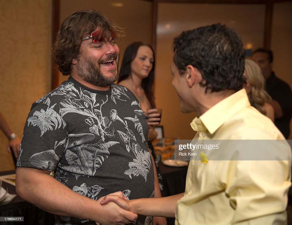Actor <a gi-track='captionPersonalityLinkClicked' href=/galleries/search?phrase=Jack+Black&family=editorial&specificpeople=171453 ng-click='$event.stopPropagation()'>Jack Black</a> (L) attends the School Of Rock 10-Year cast reception at Omni Downtown on August 29, 2013 in Austin, Texas.