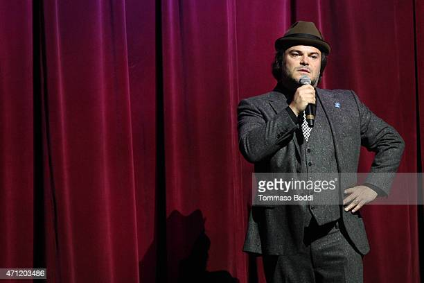 Actor Jack Black speaks on stage during the 3rd Light Up the Blues Concert to benefit Autism Speaks held at the Pantages Theatre on April 25 2015 in...