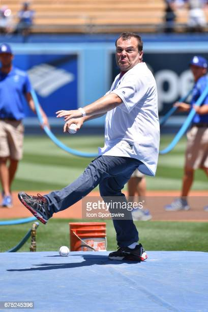 Actor Jack Black throws out the first pitch during an MLB game between the Philadelphia Phillies and the Los Angeles Dodgers on April 30 at Dodger...