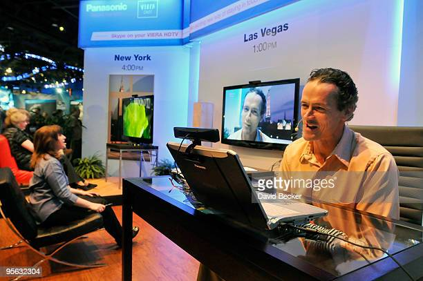Actor Jack Brand participates in a Skype call using a laptop computer and one of Panasonic's Viera Cast enabled HDTV televisions at the 2010...