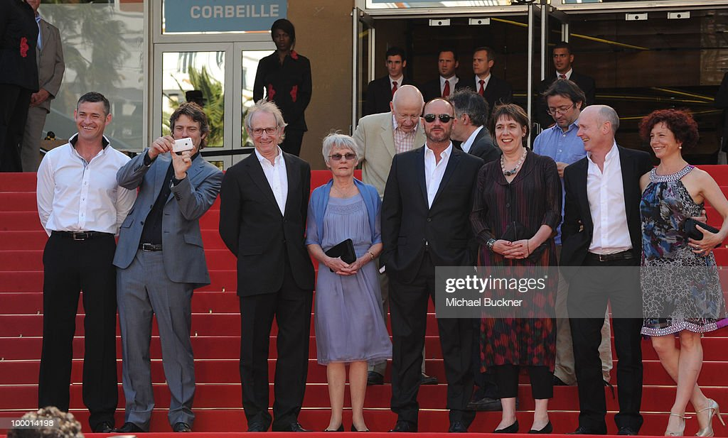 Actor Jack Fortune, John Bishop, Director Ken Loach, Lesley Ashton, Scandar Copti, Producer Rebecca O'Brien, screen writer Paul Laverty and guest attend the 'Route Irish' Premiere at the Palais des Festivals during the 63rd Annual Cannes Film Festival on May 20, 2010 in Cannes, France.