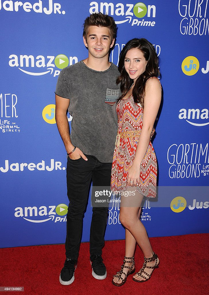 Actor Jack Griffo and actress Ryan Newman attend the Just Jared fall fun day on October 24 2015 in Los Angeles California