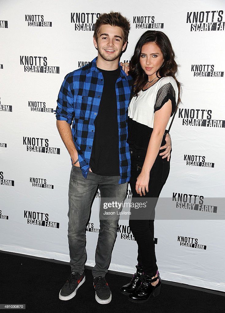 Actor Jack Griffo and actress Ryan Newman attend the Knott's Scary Farm black carpet at Knott's Berry Farm on October 1 2015 in Buena Park California
