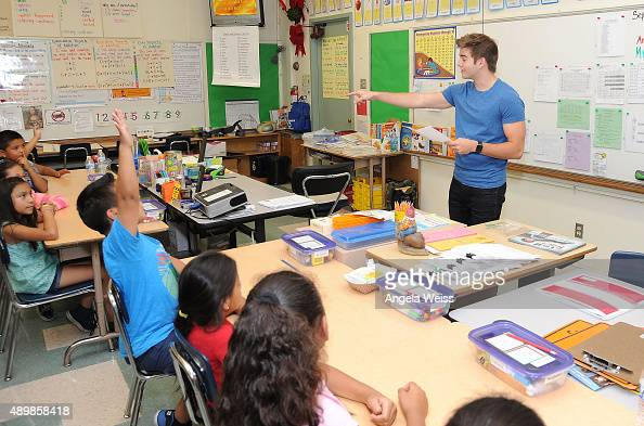 Actor Jack Griffo attends the SAG Foundation and Rise Up Foundation Read to Me Challenge at Coldwater Canyon Elementary School on September 24 2015...