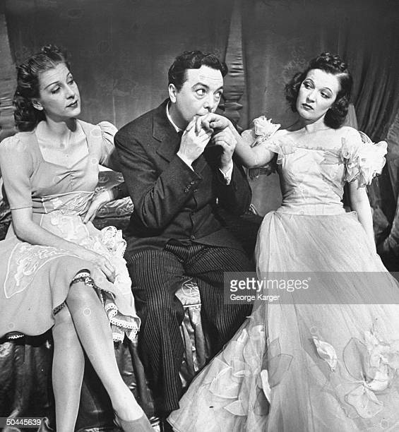 Actor Jack Haley performing with Shirley Ross and Marta Eggert in production of Higher and Higher