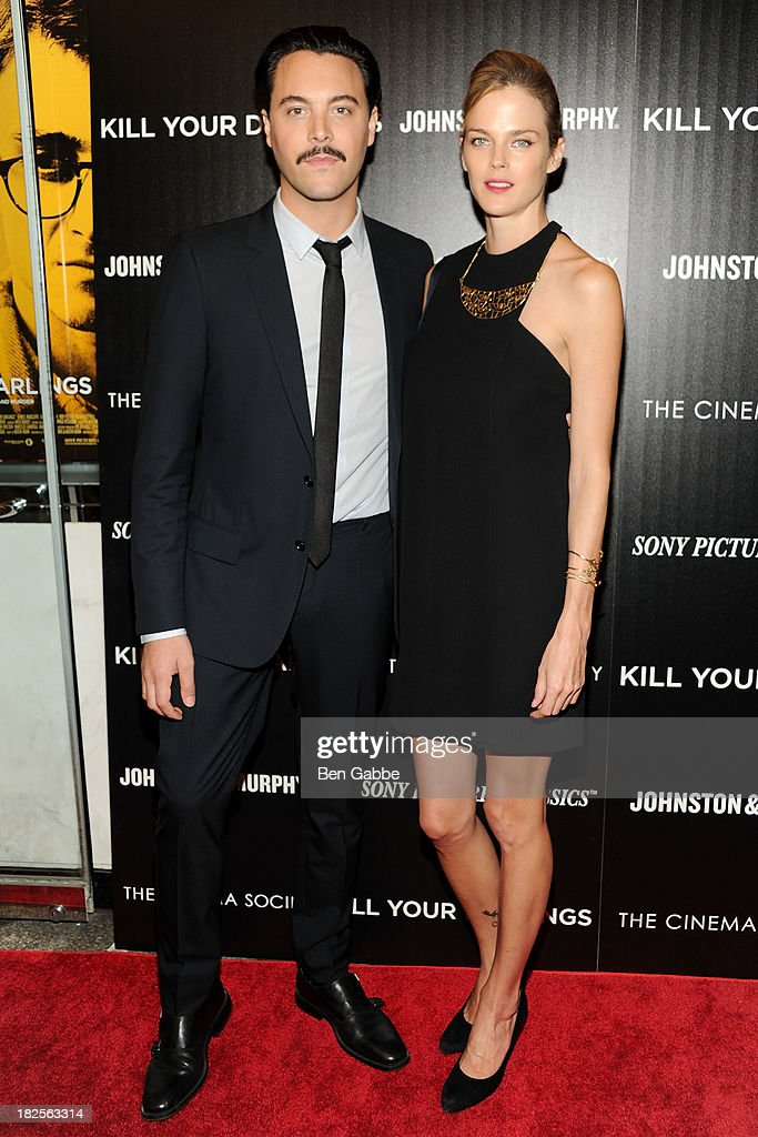 Actor <a gi-track='captionPersonalityLinkClicked' href=/galleries/search?phrase=Jack+Huston&family=editorial&specificpeople=839493 ng-click='$event.stopPropagation()'>Jack Huston</a> (L) and girlfriend <a gi-track='captionPersonalityLinkClicked' href=/galleries/search?phrase=Shannan+Click&family=editorial&specificpeople=4342080 ng-click='$event.stopPropagation()'>Shannan Click</a> attend The Cinema Society and Johnston & Murphy host a screening of Sony Pictures Classics' 'Kill Your Darlings' at the Paris Theatre on September 30, 2013 in New York City.