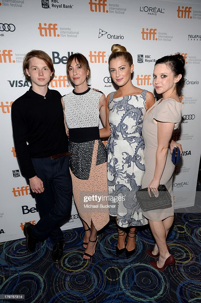 Actor Jack Kilmer director Gia Coppola actress Zoe Levin and actress Claudia Levy arrive at the 'Palo Alto' premiere during the 2013 Toronto...