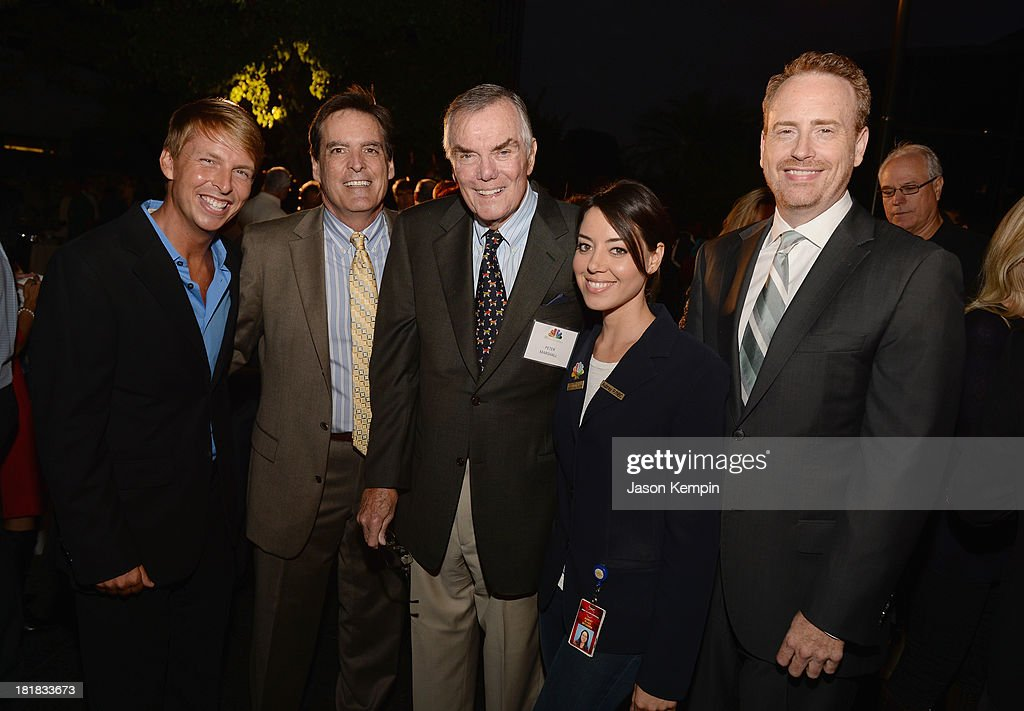 Actor Jack McBrayer, Director Audience Services NBC Entertainment Communications Publicity Page Program Bill Connor, television host Peter Marshall, actress Aubrey Plaza and Chairman NBC Entertainment Robert Greenblatt attend NBC's 80th Page Program Anniversary Celebration at Universal Studios Hollywood on September 25, 2013 in Universal City, California.
