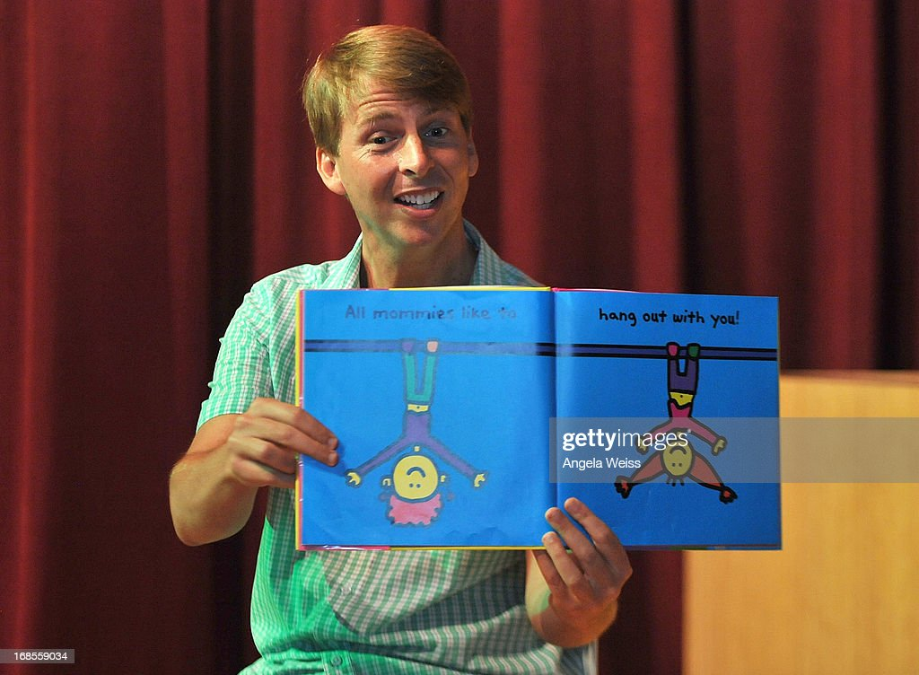 Actor <a gi-track='captionPersonalityLinkClicked' href=/galleries/search?phrase=Jack+McBrayer&family=editorial&specificpeople=4100664 ng-click='$event.stopPropagation()'>Jack McBrayer</a> reads at the Screen Actors Guild Foundation 20 Years Of BookPALS celebration at West Hollywood City Council Chamber on May 11, 2013 in West Hollywood, California.
