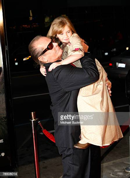Actor Jack Nicholson and actress Taylor Ann Thompson arrive at the premiere of Warner Bros' 'The Bucket List' at the Cineramadome on December 16 2007...
