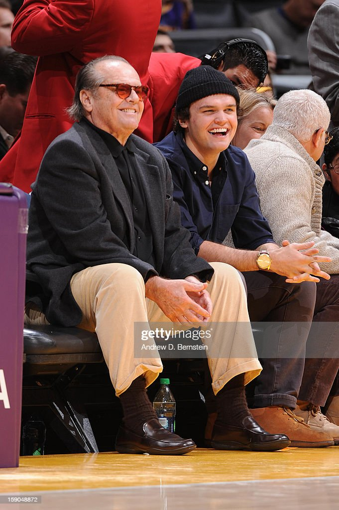 Actor Jack Nicholson and his son Raymond smile during a game between the Denver Nuggets and the Los Angeles Lakers at Staples Center on January 6, 2013 in Los Angeles, California.