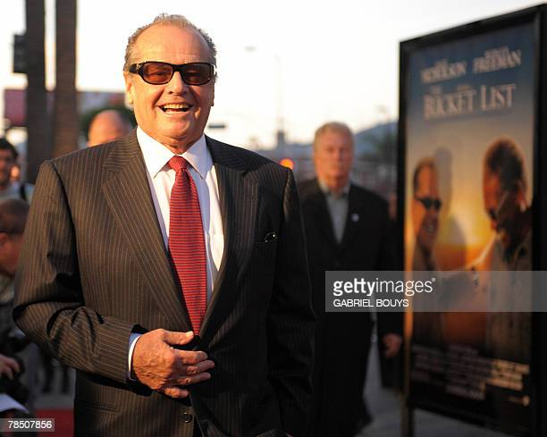US actor Jack Nicholson arrives at the premiere of 'The Bucket List' 16 December 2007 in Hollywood California The film is the story of two terminally...