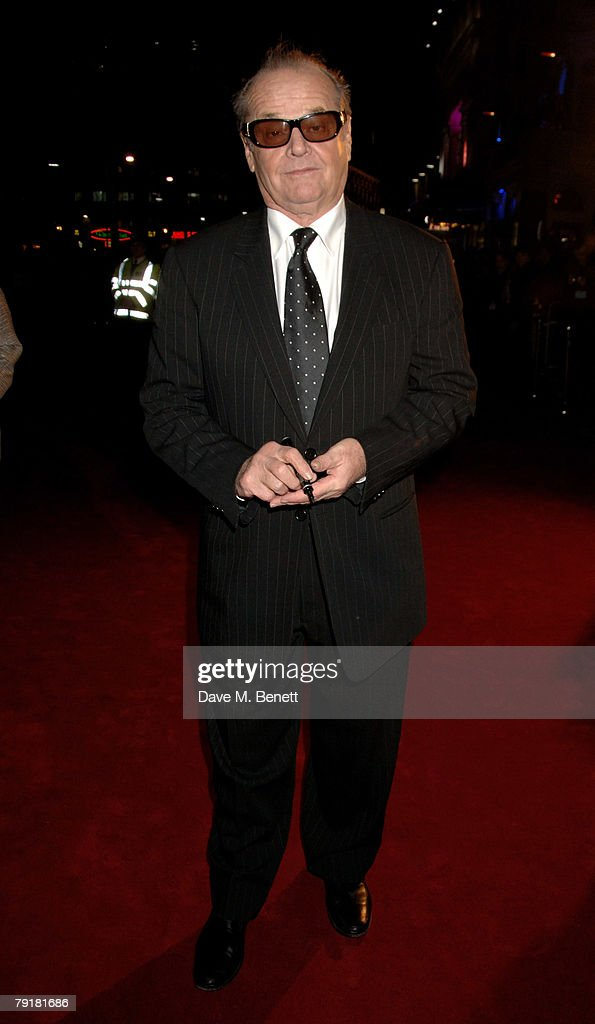 Actor Jack Nicholson arrives at the UK film premiere of 'The Bucket List', at the Vue Cinema on January 23, 2008 in London, England.
