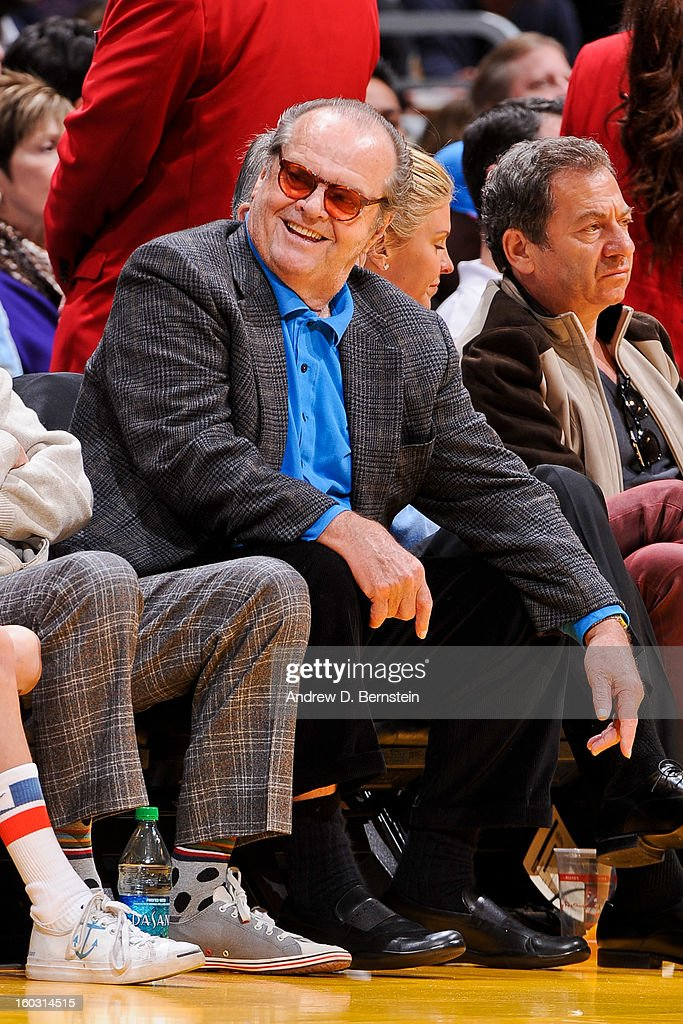 Actor Jack Nicholson attends a game between the Oklahoma City Thunder and Los Angeles Lakers at Staples Center on January 27, 2013 in Los Angeles, California.
