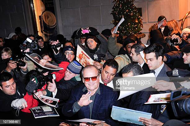 Actor Jack Nicholson leaves a Midtown Manhattan hotel on December 6 2010 in New York City