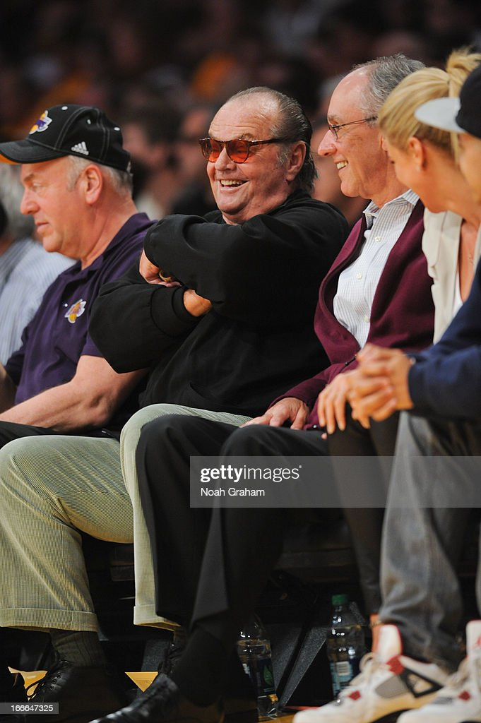 Actor Jack Nicholson looks on from his courtside seat during a game between the San Antonio Spurs and the Los Angeles Lakers at Staples Center on April 14, 2013 in Los Angeles, California.