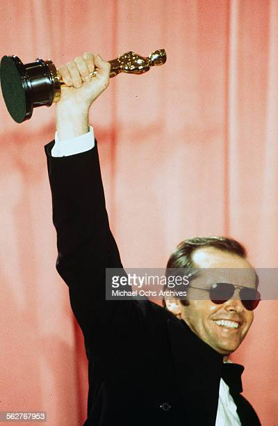 Actor Jack Nicholson pose backstage after winning 'Best Actor' and 'Best Actress' for 'One Flew Over the Cuckoo's Nest' during the 48th Academy...