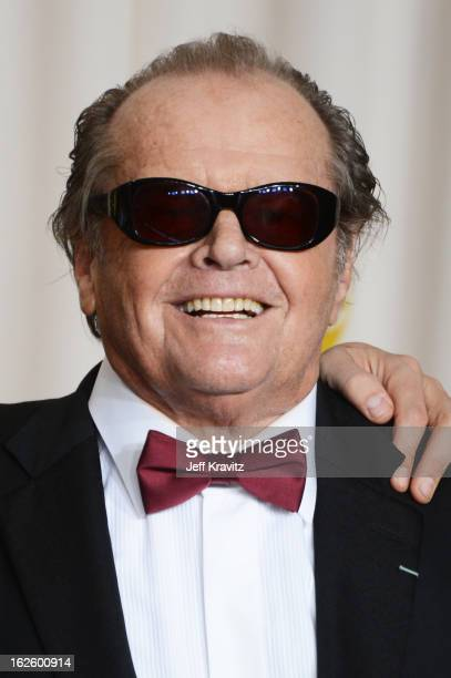 Actor Jack Nicholson poses in the press room during the Oscars at Loews Hollywood Hotel on February 24 2013 in Hollywood California