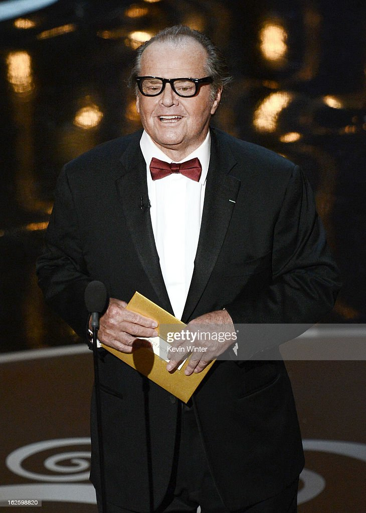 Actor <a gi-track='captionPersonalityLinkClicked' href=/galleries/search?phrase=Jack+Nicholson&family=editorial&specificpeople=91177 ng-click='$event.stopPropagation()'>Jack Nicholson</a> presents the Best Picture award onstage during the Oscars held at the Dolby Theatre on February 24, 2013 in Hollywood, California.