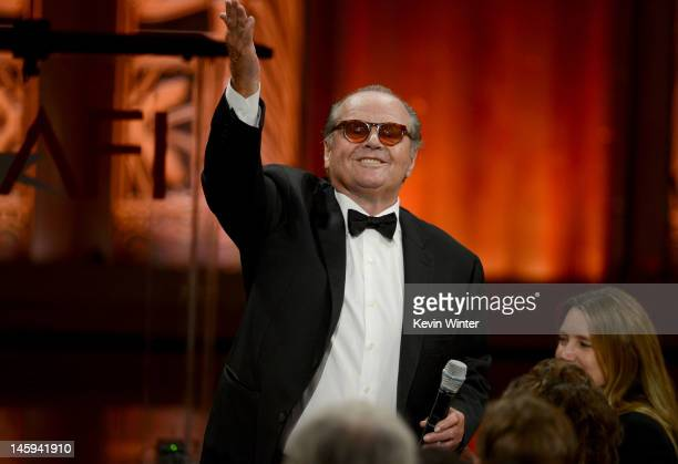 Actor Jack Nicholson speaks onstage at the 40th AFI Life Achievement Award honoring Shirley MacLaine held at Sony Pictures Studios on June 7 2012 in...