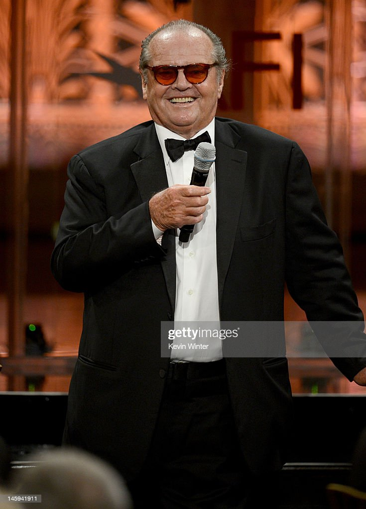 Actor <a gi-track='captionPersonalityLinkClicked' href=/galleries/search?phrase=Jack+Nicholson&family=editorial&specificpeople=91177 ng-click='$event.stopPropagation()'>Jack Nicholson</a> speaks onstage at the 40th AFI Life Achievement Award honoring Shirley MacLaine held at Sony Pictures Studios on June 7, 2012 in Culver City, California. The AFI Life Achievement Award tribute to Shirley MacLaine will premiere on TV Land on Saturday, June 24 at 9PM