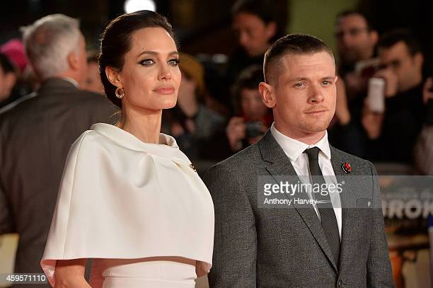Actor Jack O'Connell and director Angelina Jolie attend the UK Premiere of 'Unbroken' at Odeon Leicester Square on November 25 2014 in London England